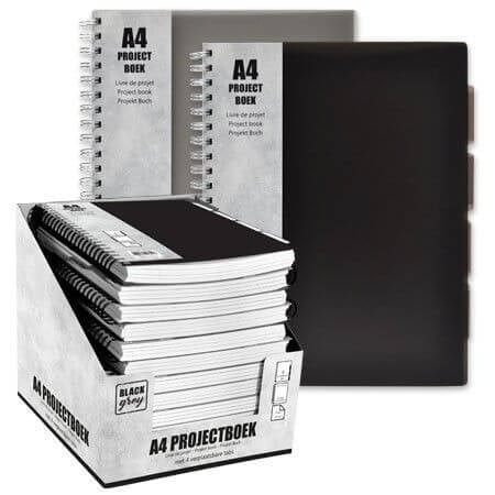 Projectboek A4 23r 120vl Black/Grey