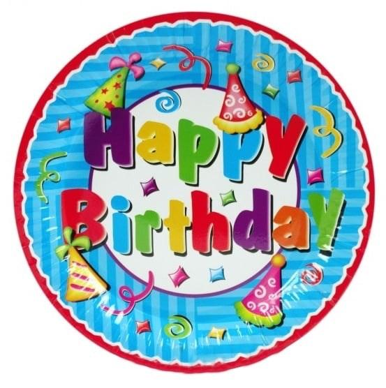 Papieren bord 23cm Happy Birthday