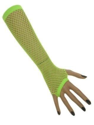 Nethandschoenen lang fluor groen vingerloos