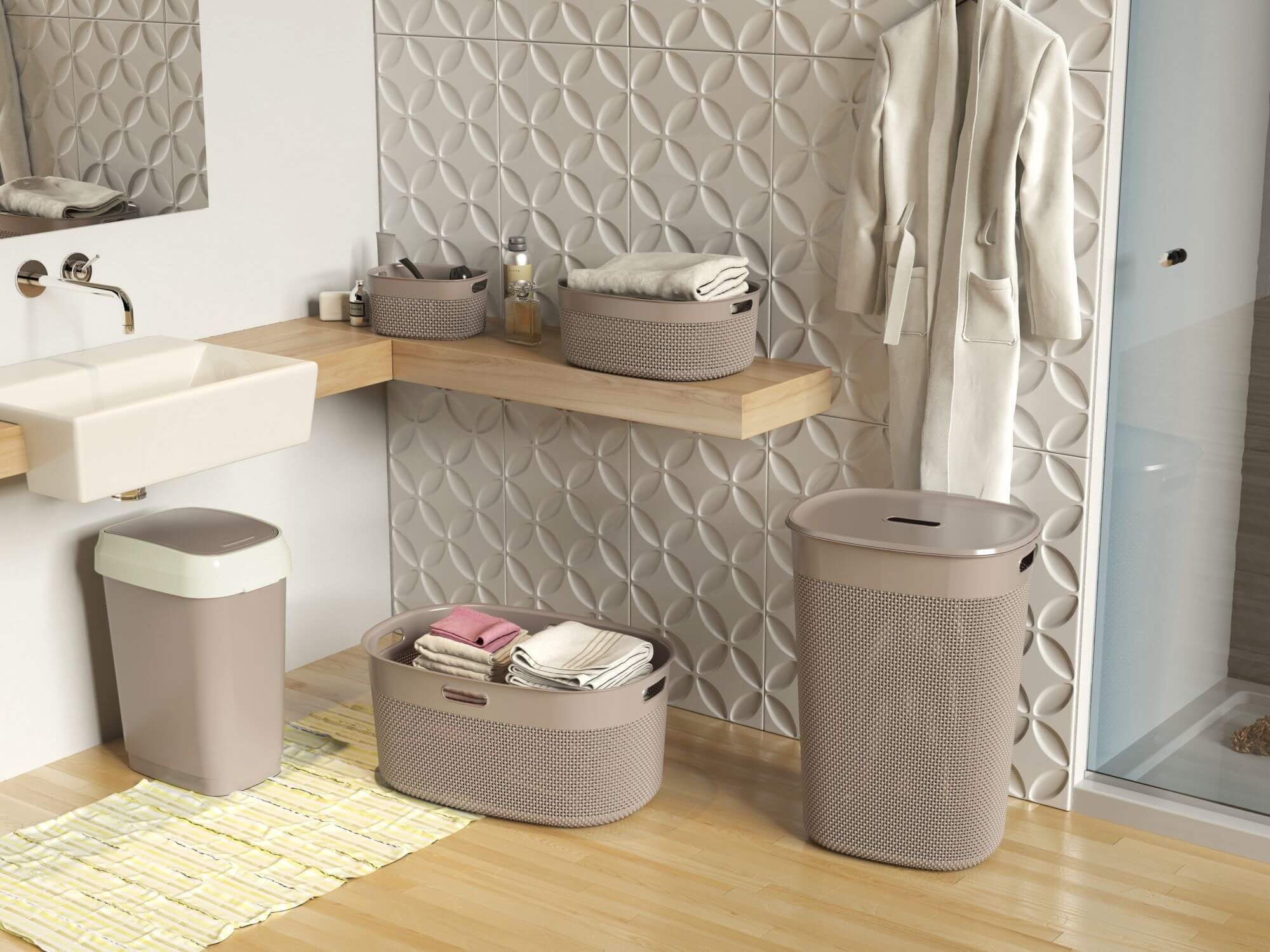 Curver Kis Filo wasbox 55 liter colonial taupe