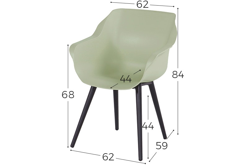 Sophie Studio dining armstoel French green Carbon Black