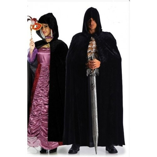 Hooded cape velvet black 500 500