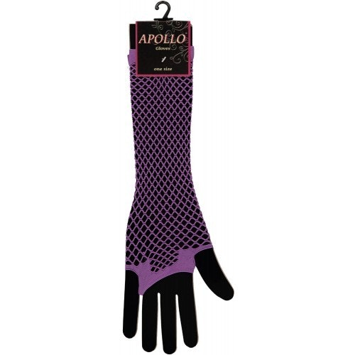 Visnet lang vingerloze handschoen paars op=op