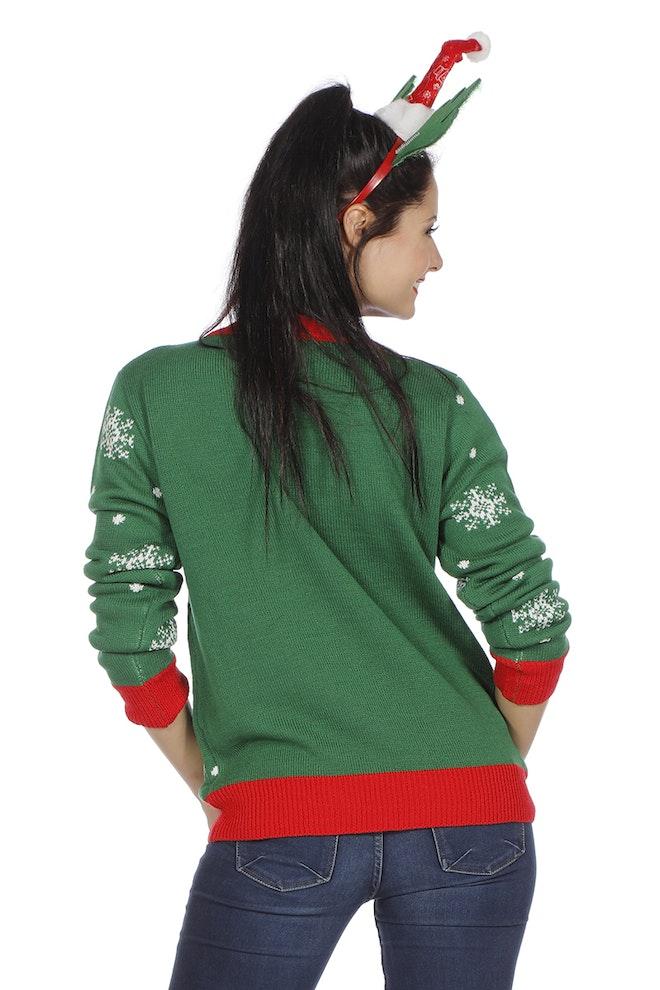Kersttrui groen met rendier 800 1200