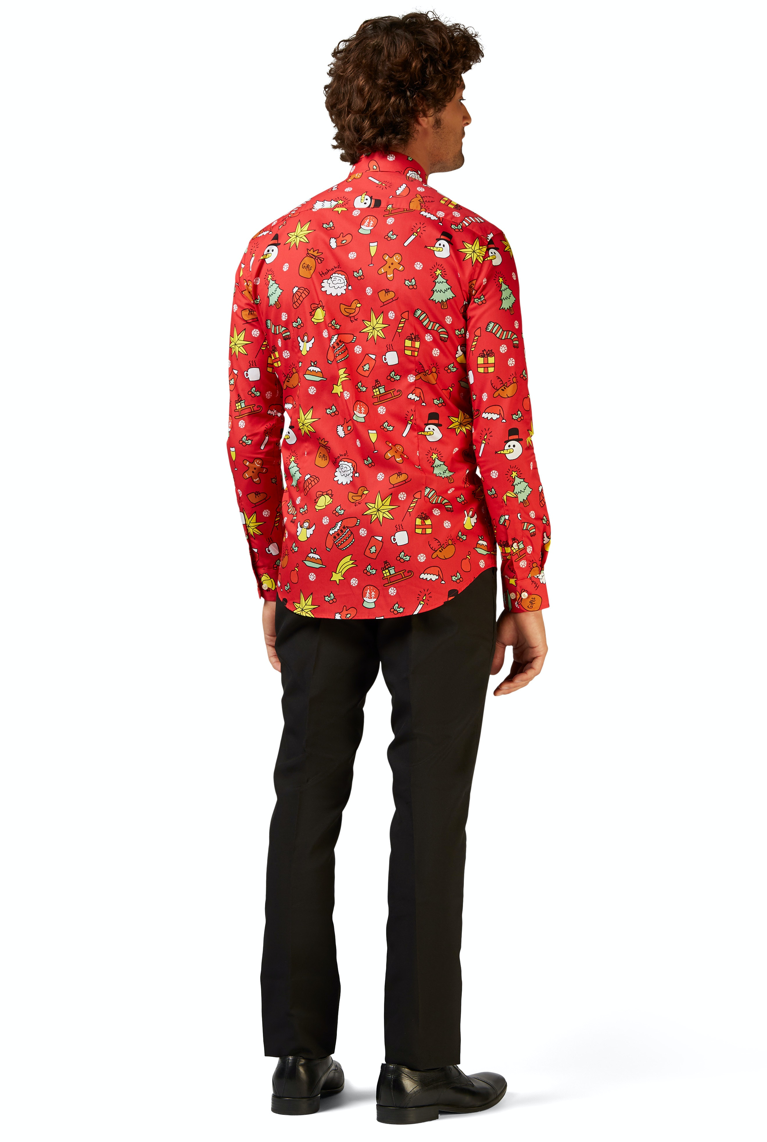 Opposuits Christmas Doodle Red Grappig rood kerst shirt