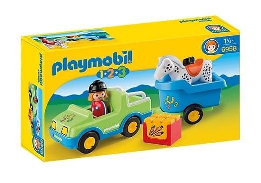 PLAYMOBIL® 1.2.3 6958  Wagen met paardentrailer op=op 525 368