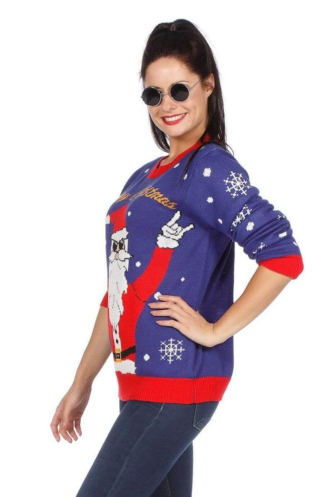 Kersttrui blauw rocking Santa 920 1380