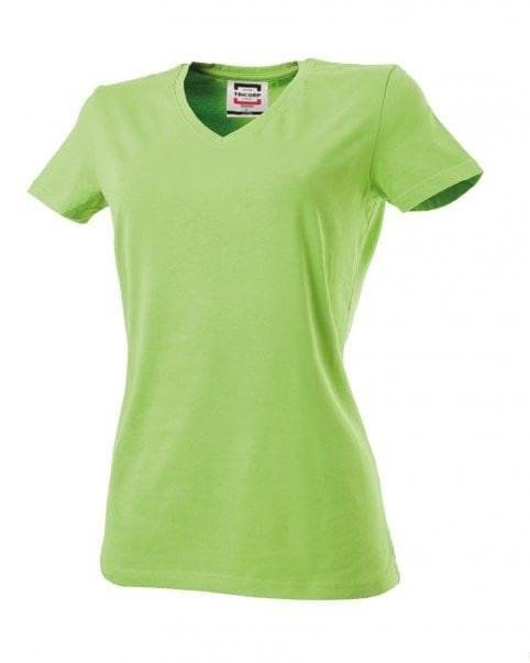 T-shirt dames V-hals slim-fit Lime 482 603
