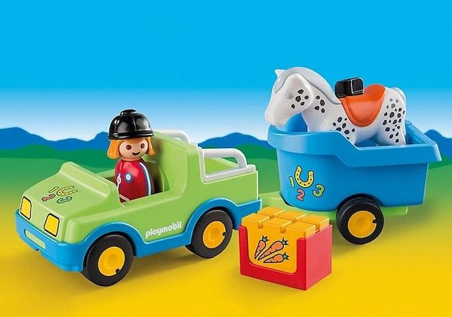PLAYMOBIL® 1.2.3 6958  Wagen met paardentrailer op=op 800 560