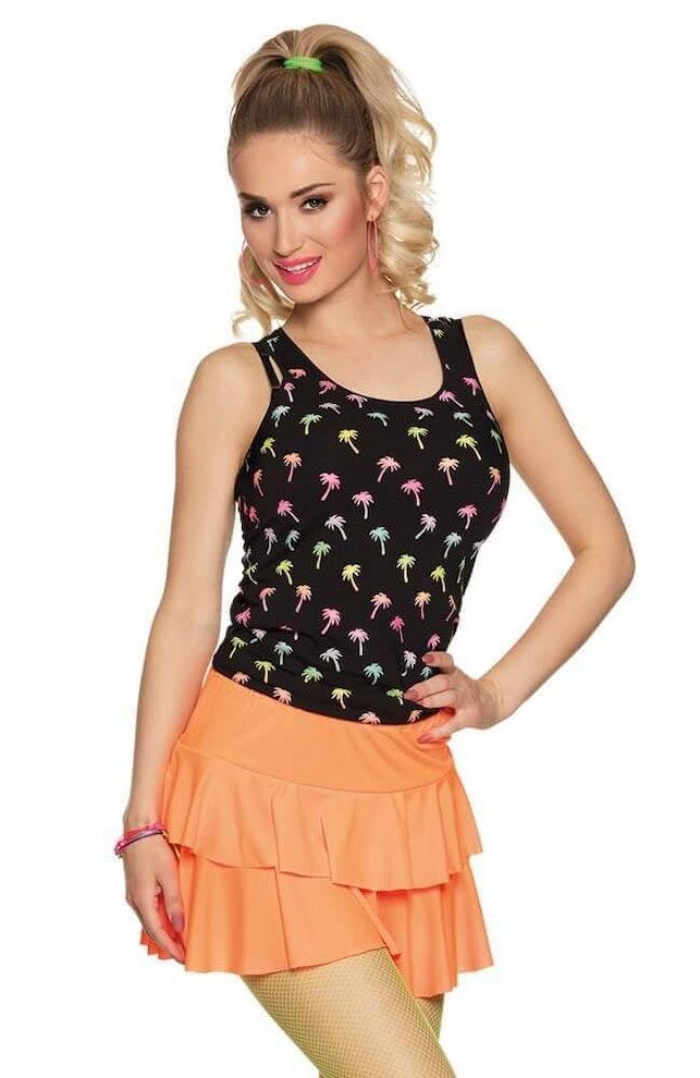 Minirok ruffles oranje 649 1000