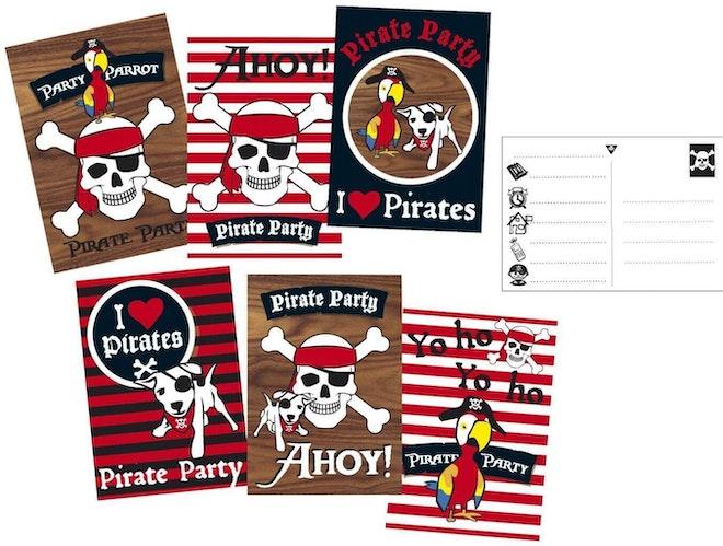 Uitnodigingskaarten Piraten 6 stuks 1354 1024