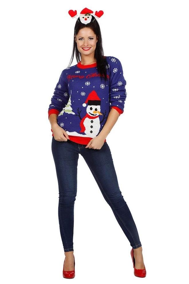 Kersttrui blauw met sneeuwman op=op 920 1380