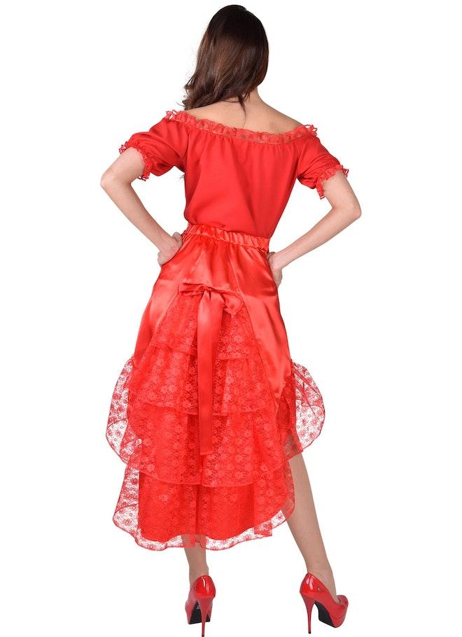 Luxe satijn rok met kant rood 1160 1600