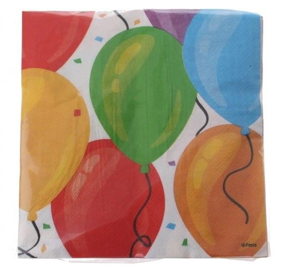 Papieren servetten 33x33cm ballonnen