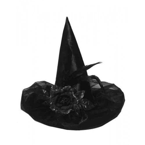 Satijn zwarte heksenhoed met bloem en veren 500 500