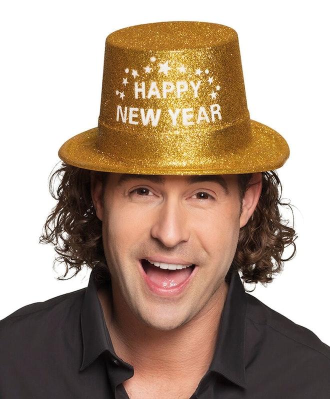 Happy new year hoedje goud 827 1000