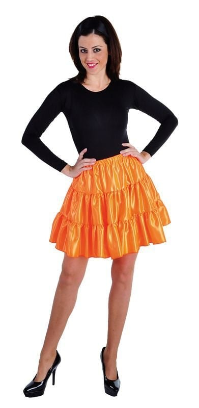 Volangen stroken rok oranje