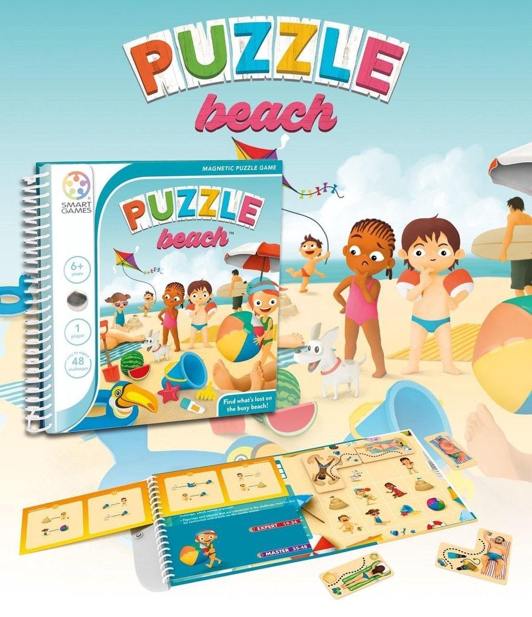 Smartgames magnetic travel: puzzle beach  wat een drukte op het strand! puzzel je een weg door de chaos. leve ...